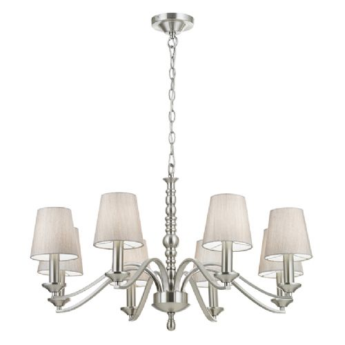 8 LIGHT CEILING FITTING IN SATIN NICKEL WITH FABRIC SHADES ASTAIRE-8SN